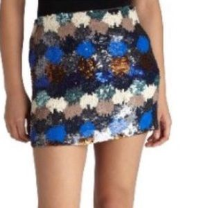 French Connection paint box sequin mini skirt